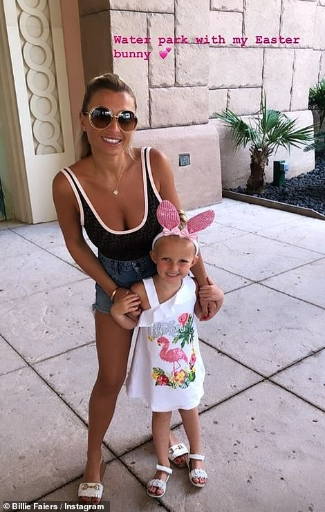 Under the sea: Billie Faiers treated her daughter Nellie, four, with a trip to a water family during their family holiday in Dubai