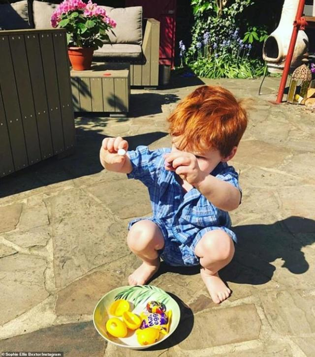 Sugar rush: Sophie's son looked delighted with his chocolate egg haul after exploring the garden