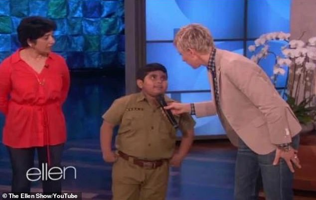Taste of fame: It has been revealed that Ant McPartlin and Declan Donnelly's Golden Buzzer act Akshat Singh has already garnered recognition after previously appearing on shows such as Ellen (pictured in 2014) and India's Got Talent