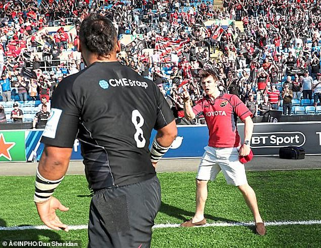 Saracens' Vunipola was confronted by a Munster fan after the game on Saturday afternoon