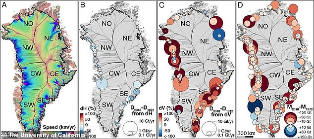 Greenland's ice is melting six times faster than in the 1980s, according to researchers'. This image shows some of the data used by experts to make their findings