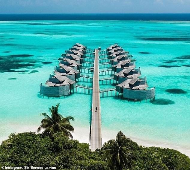 Idyllic: Holly and her family stayed at the resort, where rooms can cost up to £ 3,155 a night in stylish villas, which hang over the blue waters of the hot spot destination