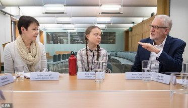 Greta meets Green Party leader Caroline Lucas (left) and Labour leader Jeremy Corbyn (right), at the House of Commons in Westminster yesterday