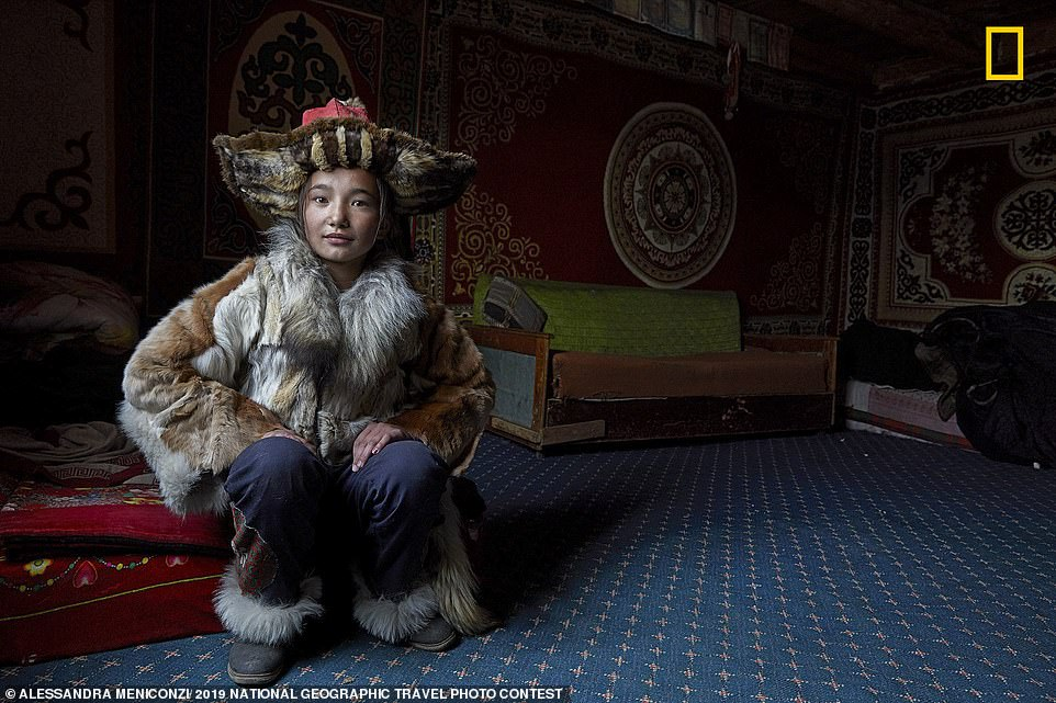 Alessandra Meniconzi took this striking portrait of a nomad while travelling in Mongolia. The photographer explains: 'Nomads are constantly on the move. Some have a small house, but never spend more than few months [in it]. To settle is to deprive a nomad of their roots, their culture, and their freedom'