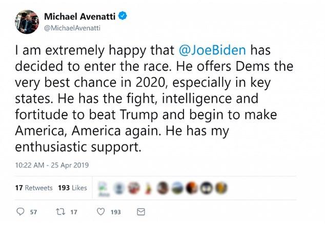 The lawyer Michael Avenatti has released a brilliant endorsement of the former vice president Joe Biden in his 2020 presidency offer