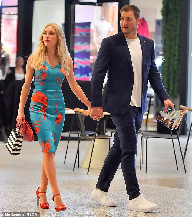 Cutie couple: Cassie and Colton explore a Los Angeles mall in style
