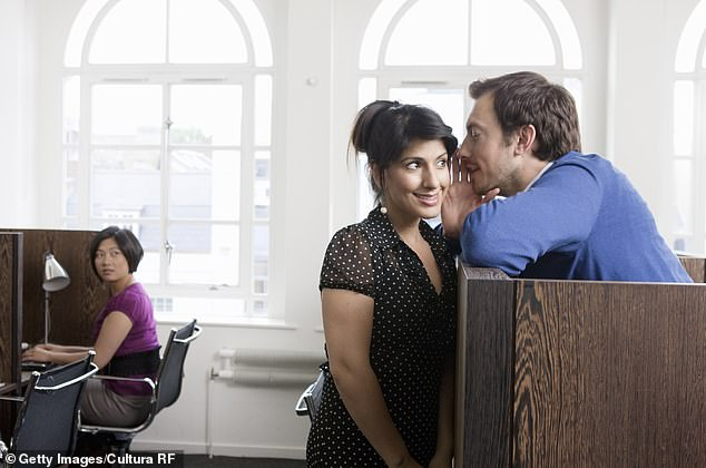 The study found that men can often play it cool when they meet someone and that women act more interested than they actually are (stock image of two people flirting above)