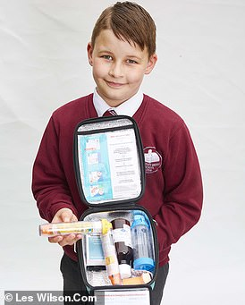 Jake Heawood will taken an EpiPen and snack with him (pictured) when going out