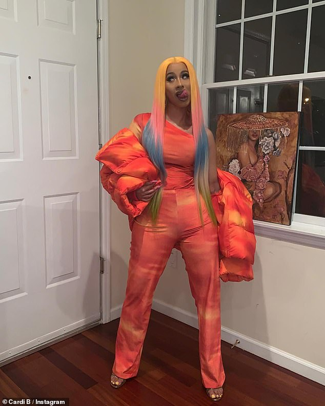 Bold: She showed off her new look on Instagram the night before, wearing a sherbet-inspired ensemble to match her new tresses