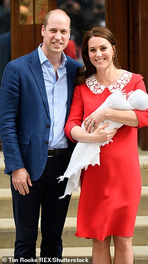 Prince William and  Kate Middleton after the birth of Prince Louis