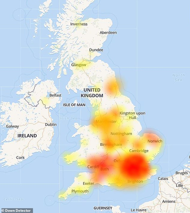 Pictured: Reports of problems for Natwest users earlier this morning, as mapped by website Down Detector