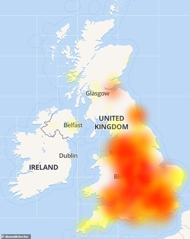 Pictured: A heat map of the reported issues with Lloyds online banking applications today