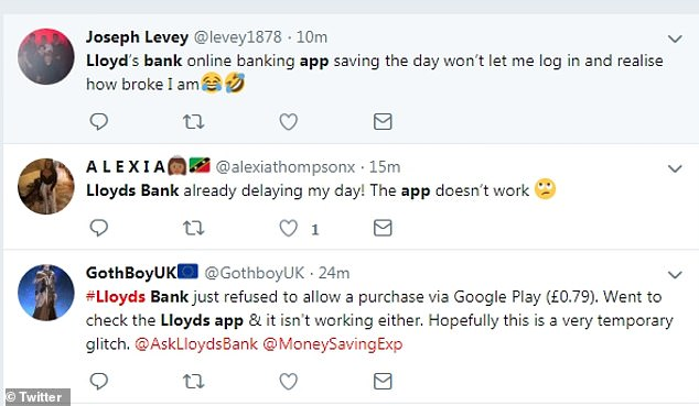 Pictured: Social media users complain of issues using Lloyds Bank's online banking services