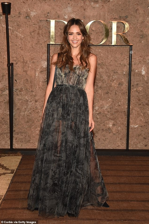 7eabb4d9 Bringing the glamour: Jessica Alba stole the show as she attended the  Christian Dior Couture