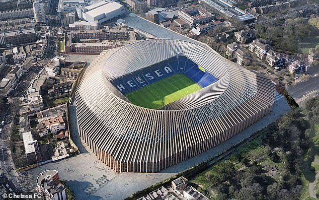 Chelsea's proposal to redevelop Stamford Bridge could be scrapped due to spiralling costs - the picture above is an artist's impression of how the new 60,000-capacity venue would look