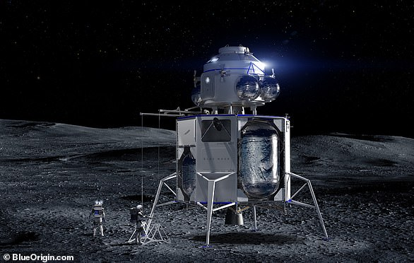 The spacecraft is capable of carrying and delivering payloads to the moon's surface. 'This is an incredible vehicle and it's going to the moon,' Bezos said