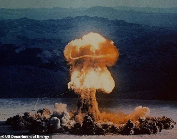 Carbon-14 is produced by nuclear tests, like this one, in Nevada, in 1957.