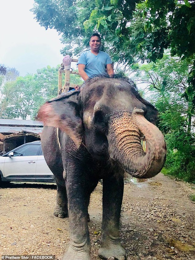 Shiv pictured riding an elephant on one of his holidays last year, on a trip where he also visited family and old friends in Nepal