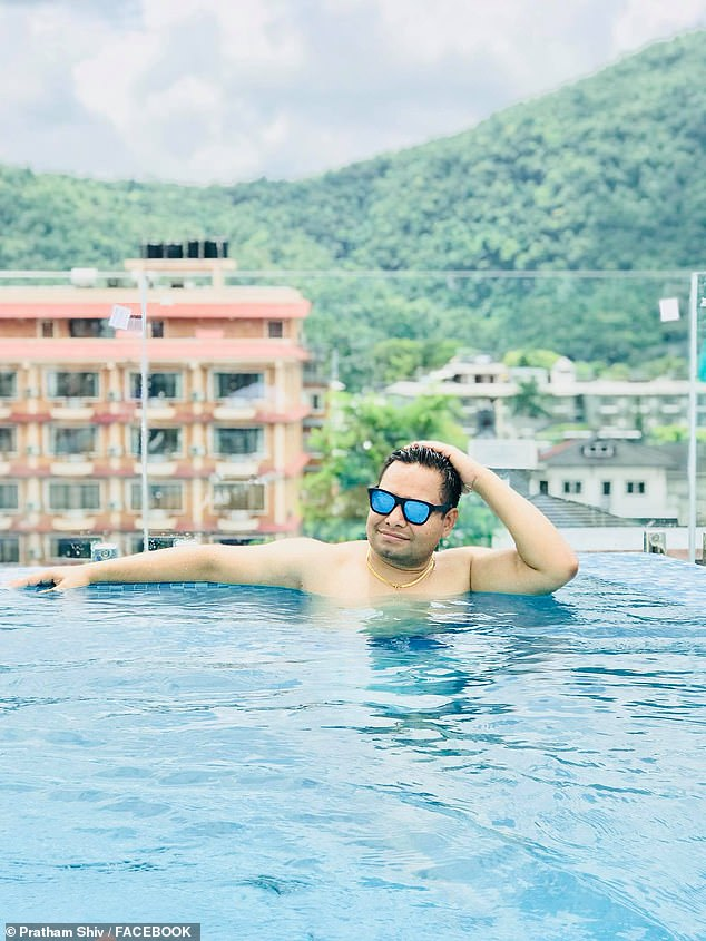 Among Shiv's numerous travel photos was this one of him lounging in a pool.Each of his photos is accompanied with a pithy, often cringeworthy, line