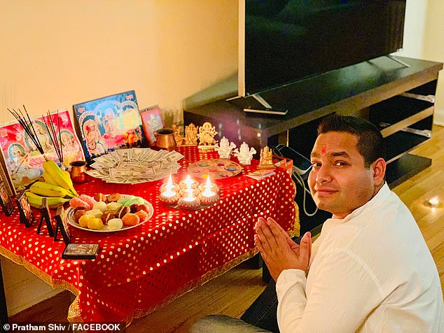Social media photos like this one of himcelebrating the Hindu Diwali festival led to his arrest when the woman identified him to NSW police as her alleged rapist