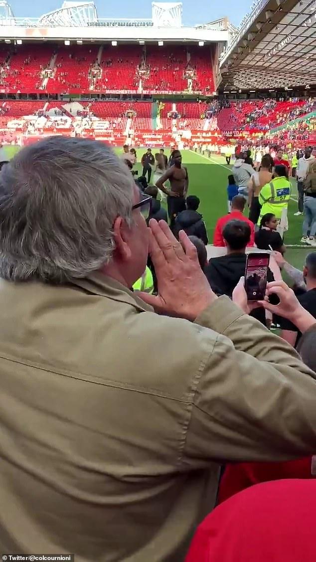 Man United fan shouts towards Ole Gunnar Solskjaer demanding that he get rid of Paul Pogba