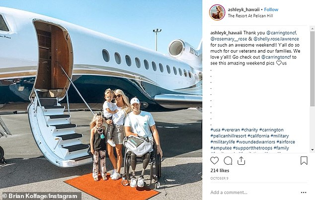 Kolfage, who lives with his family in the resort community of Sandestin, in Florida's Panhandlehas previously posted image of his travels on private jets