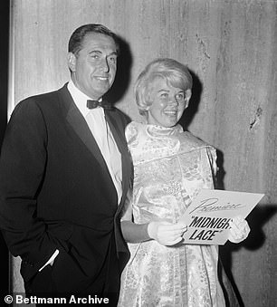 """Doris Day comes with her third husband Martin Melcher to a premiere of Midnight Lace in the guild of film directors. Melcher legally adopted Day as the only son, Terry, but wasted $ 20 million in assets and left her penniless when he died in 1968. Rock Hudson recalled his distrust of Melcher: """"Working with Doris meant harassing her husband Marty again. This time, Marty figured out himself as executive producer of the film and reassembled his $ 50,000 fee for performing invisible services. I neither liked nor trusted Melcher and avoided him as much as possible. & # 39;"""