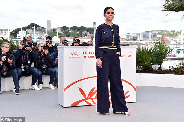All eyes on her: Selena Gomez looked gorgeous in a chic navy suit for The Dead Don't Die photocall at the Cannes Film Festival on Wednesday