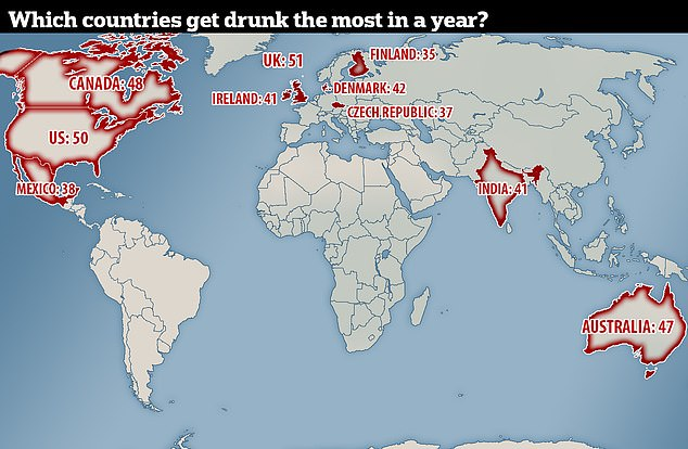 Britons reported getting intoxicated 51 times in a 12-month period - almost once a week. They were closely followed by people in the US and Canada (map shows how many times in a year the average adult gets drunk)