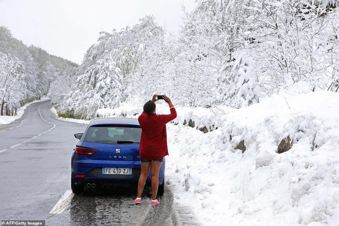 Meanwhile parts of the Mediterranean are covered in snow, with popular summer holiday destination Corsica battling temperatures of just 37F (3C)