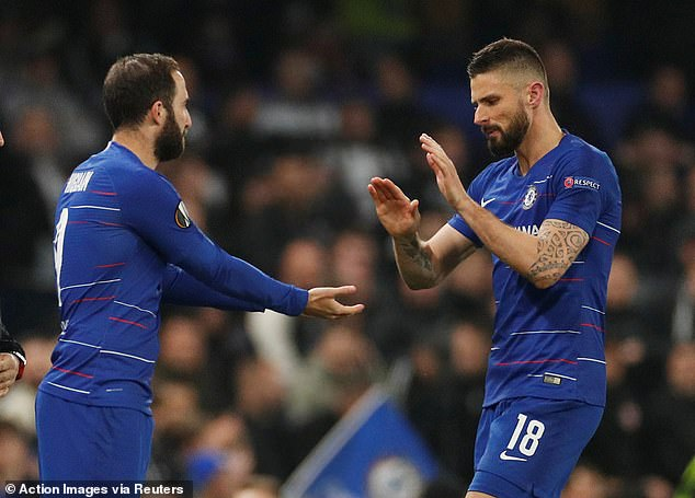Higuain fought for goals and Chelsea want to extend the deal from Olivier Giroud (R)