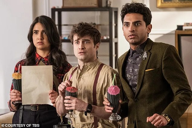 Renewed! Miracle workers, which is also executive produced by Radcliffe (centre with co-stars Geraldine Viswanathan and Karan Soni), was renewed for another season by the TBS network, Deadline reported
