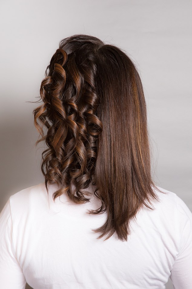 Claire, pictured, said she got the hang of making the same curl every time after some practice at her local salon