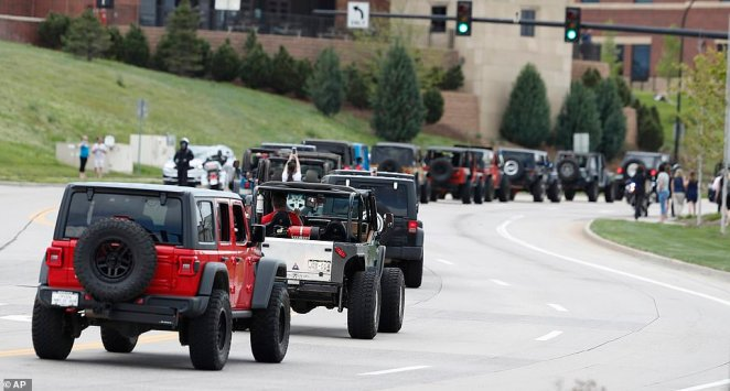 Hundreds of Jeeps took part in a procession to the memorial service for Kendrick Castillo, the 18-year-old who was killed while trying to stop two teen gunmen at his Denver high school