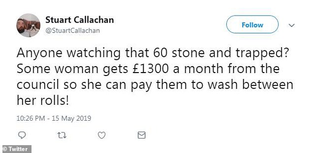 Stuart Callachan also commented on the money provided by the council for Denise's carers writing: '£1300 a month from the council so she can pay them to wash between her rolls!'