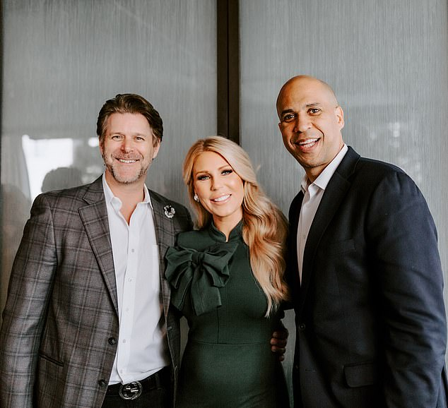 Gretchen Rossi and her boyfriend Slade Smiley with Cory Booker, with whom they are campaigning for cheaper and more accessible fertility care