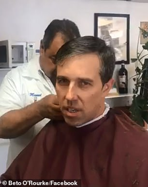 Democratic Presidential Beto O'Rourke was ridiculed on social media for live-streaming a 'weird' 20-minute video showing him getting a haircut