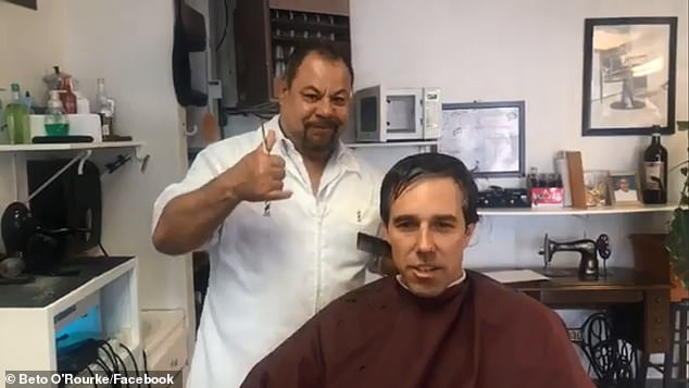 In the 20-minute clip which was live-streamed on Facebook, O'Rourke chatted in Spanish to Manuel, the owner of Chema's Barber Shop in El Paso, as he stopped intermittently to answer questions posted from Facebook users