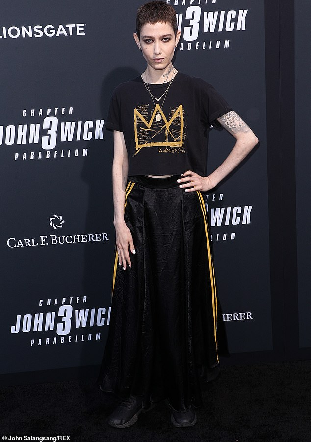 Asia in black: Asia Kate Dillon posed in a black shirt and full length skirt