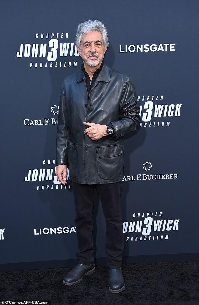 Joe in black: Joe Mantegna takes in the red carpet