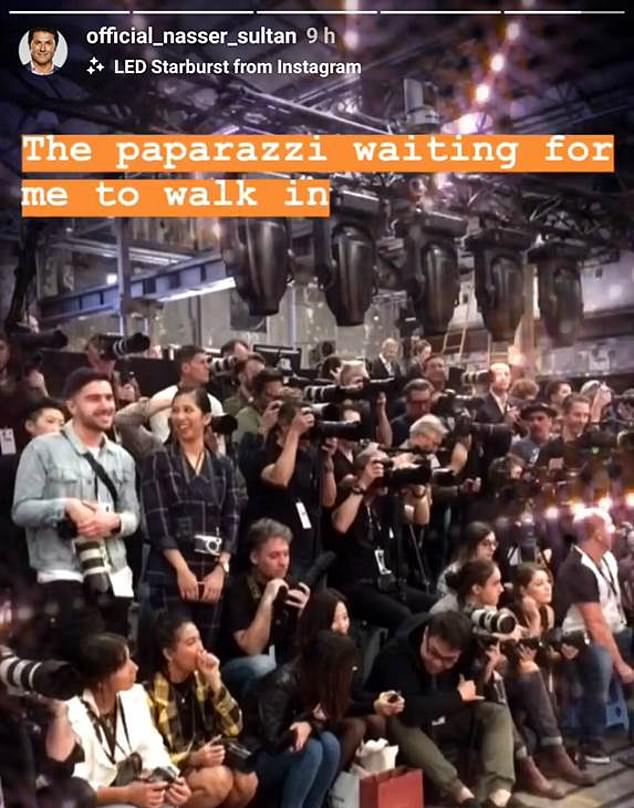 Awkward! Nasser went on to share a picture of the paparazzi in attendance, before reailsing they were there to take pictures of the models - not him