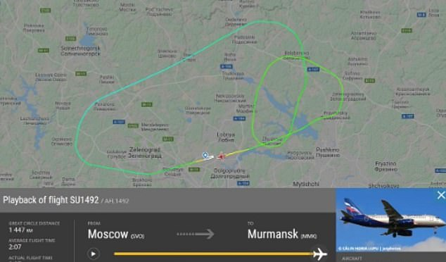 The tracking service Flightradar24 showed that the victims drove two circles around Moscow, which could have been a last attempt to lose fuel