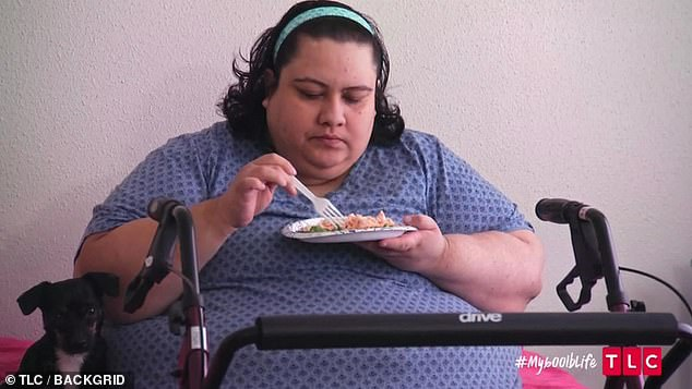 Pictured before the ordeal, she pulled through and is now a healthier 369lbs (167kg)