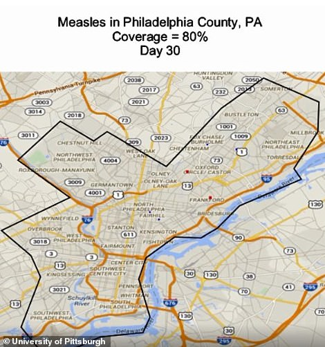 Philadelphia at day 30 of a measles epidemic