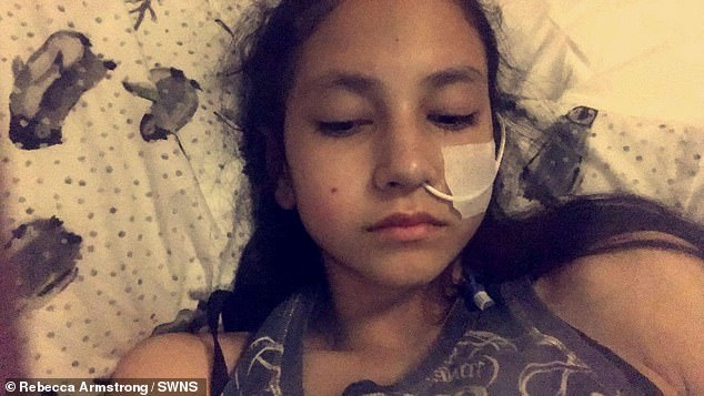The teen (pictured in hospital) says her idea of beauty was influenced by models on Instagram and attributes of popular people at school