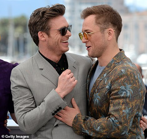 Getting along nicely: Richard and Taron appeared to be firm friends after building a bond on set