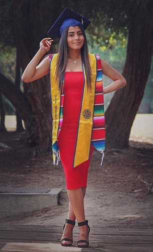 On Sunday, she will receive her bachelor's degree in psychology and a minor in Spanishfrom the University of California, Merced