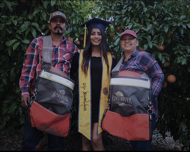 Anna Ocegueda, pictured with her parents, said their hard work helped her succeed