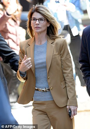 Lori Loughlin pictured on April 3, 2019 in Boston outside theJohn Joseph Moakley United States Courthouse