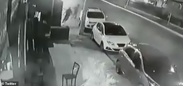 A surveillance camera recorded the moment the suspected attackers fled the Playa del Carmen restaurant after leaving one person dead and 11 injured